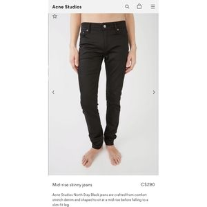 NEW Acne Studios North Stay Black Jeans